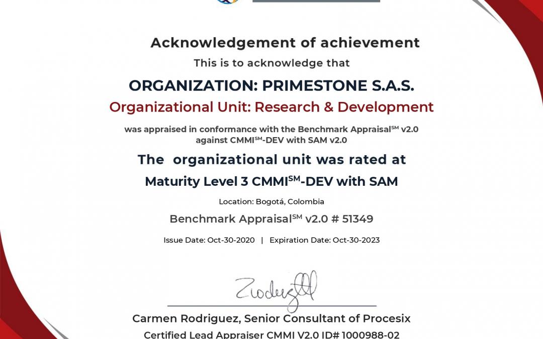 PrimeStone, a Trilliant company, Becomes First Organization in Colombia to Obtain Maturity Level 3 under CMMI DEV with SAM v2.0